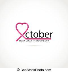 logotipo,  cáncer, pecho, Conocimiento, diseño