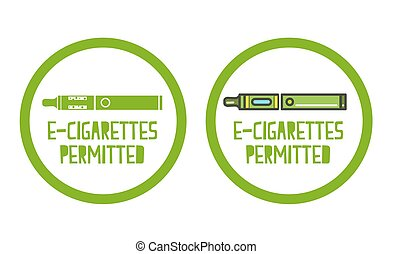 set of electronic cigarettes permitted sign icons -...