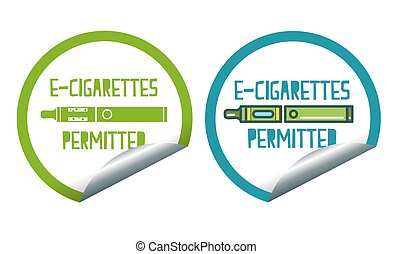 Electronic cigarettes permitted sticker label sign set - Set...
