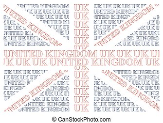 United Kingdom Text Flag - United Kingdom flag constructed...