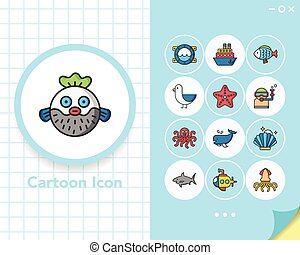 icon set ocean vector