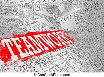 Teamwork word cloud business concept