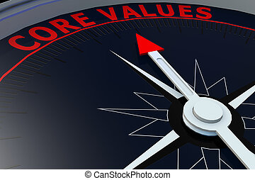 Black compass with core values word on it, 3D rendering