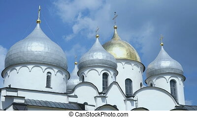 The Golden domes of the temple in Velikiy Novgorod - The...