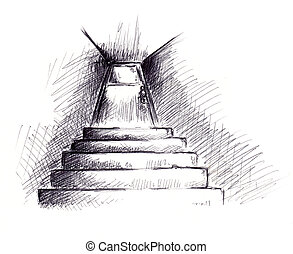 cellar stairs - stairs and the cellar door in perspective :...