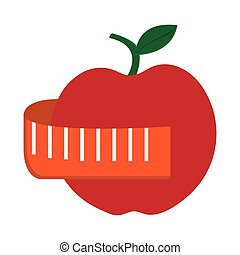 apple with leaf and measurin tape icon