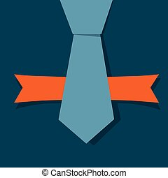 Banner with orange ribbon, Vector Illustration