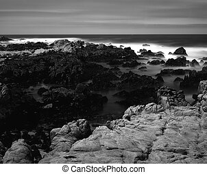 Black and White Time Lapse Asilomar State Marine Reserve -...
