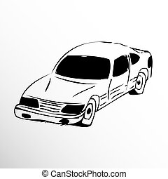 Old car. Drawing. Sketch style. Conditional  image in the style of the sketch.