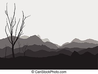 tree dry landscape scene background illustration vector