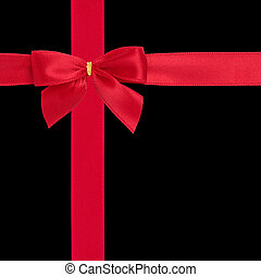 Red Ribbon and Bow - Red satin ribbon with bow isolated over...