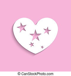 Heart with stars. White image - White image on a pink...