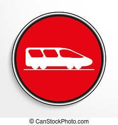 High-speed train. White icon on a red background.