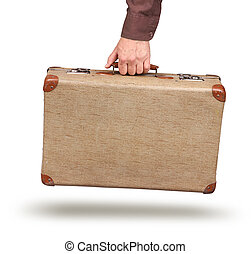 Male hand holding vintage suitcase - Male hand holding old...