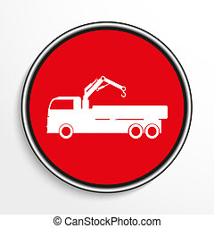 Truck. White icon on a red background.