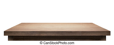 table top - Wooden table top on white background.