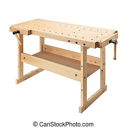 Wooden workbench with vises. Woodworking workshop table...