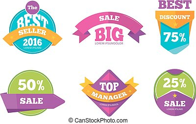 Discount tags banners and stickers vector collection for digital marketing