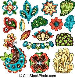 Doodle floral paisley elements