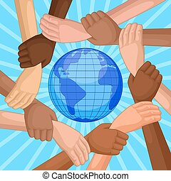 multicultural hands around globe - People of different races...