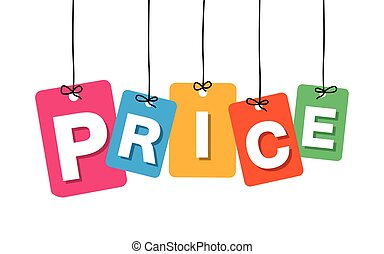 Vector colorful hanging cardboard. Tags - price