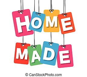 Vector colorful hanging cardboard. Tags - home made on white...