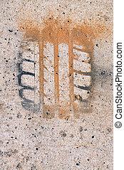 Impression of tire  - Close up of unique impression