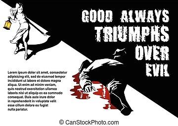 Vector BW Illustration. Template flyers. Little girl kills...