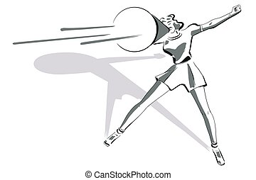 Stock illustration. Retro clipart. Girl with megaphone.