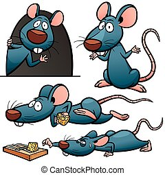 Rat - Vector illustration of Cartoon Rat Character Set