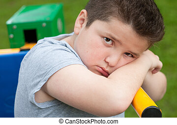 boy, sad, fat, overweight, exercise, tired, look, portrait, trainer, kid