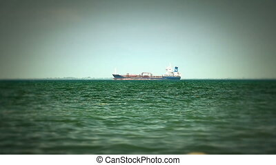 Tanker ship on route to open sea
