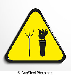 """Triangle with a symbol """"torch and pitchforks"""". - Black and..."""