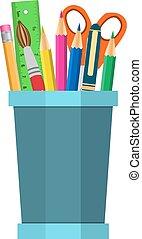 color pencils in cup