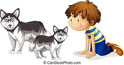 Little boy and two dogs