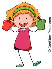 Little girl holding two capsicums