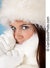 Winter woman with fur hat