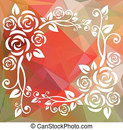 green red border - Abstract floral border on a red and green...