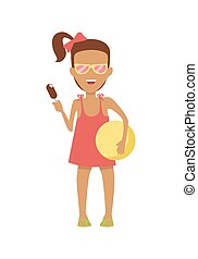 Girl Character in Dress and Sunglasses Illustration