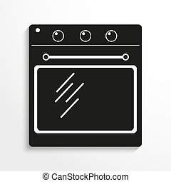 Household appliances. Oven. - Black and white image on a...