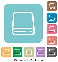 Flat hard disk drive icons - Flat hard disk drive icon set...