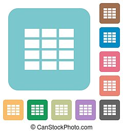 Flat spreadsheet icons - Flat spreadsheet icon set on round...