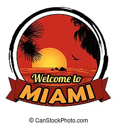Welcome to Miami sign - Welcome to Miami concept in vintage...