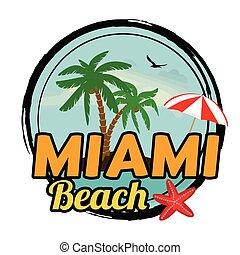 Miami beach sign - Miami beach concept in vintage graphic...
