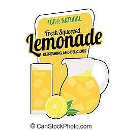 Lemonade label or sign on white bakground, vector...