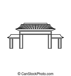 Pagoda icon, outline style - Pagoda icon in outline style...