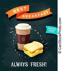Best breakfast always fresh - chalkboard restaurant sign....