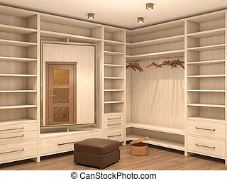 Empty white dressing room; interior of a modern house. 3d...