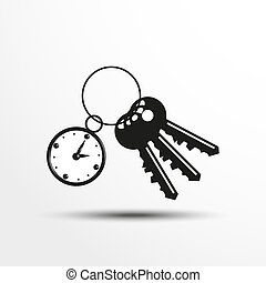Keys with a decorative trinket. - Black and white image on a...