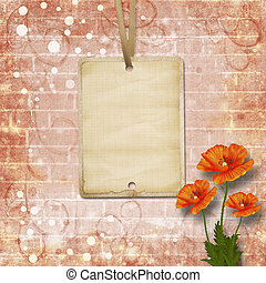 Beautiful red poppies on background of old brick wall with...